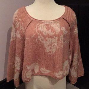 Free People pink geometric crop sweater M NWT